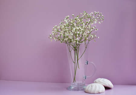 Glass vase with white flowers and two white zephyrs on pink background. Horizontal imagination