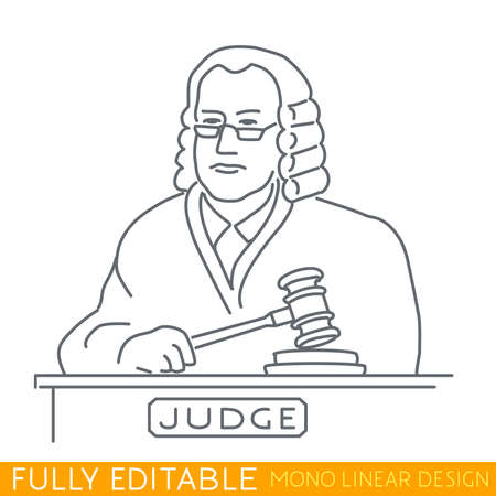wig: A judge in a wig holding a gavel. Modern thin line template. Fully editable curves. Mono linear pictogram of outline symbol. Stroke icon concept.