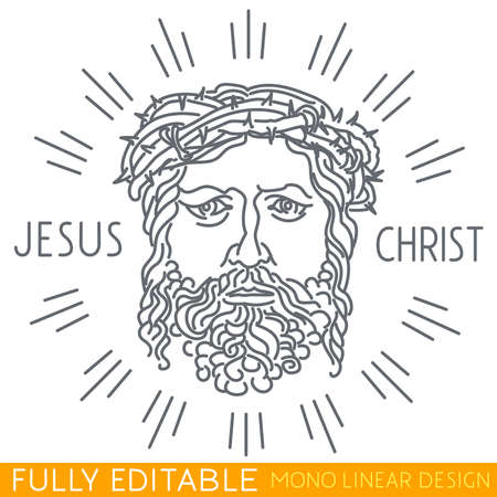 crown of thorns: Portrait of Jesus Christ with a crown of thorns. Thin line template. Fully editable curves. Mono linear pictogram of outline symbol. Stroke icon concept. Illustration