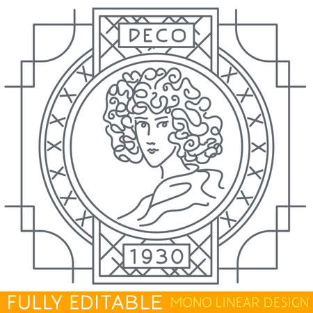 art nouveau vintage: Portrait of young woman with decorative elements Art Deco style. Modern thin line template. Fully editable curves. Mono linear pictogram of outline symbol. Stroke icon concept. Illustration
