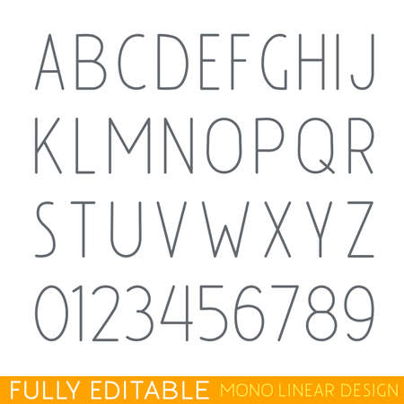 scalable: Modern thin line font. Fully editable curves. You can change the thickness.  Mono linear letters and numeric. Stroke alphabet concept. Perfectly scalable. Better for design of and emblem.