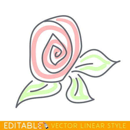 Flower. Abstract icon. Editable vector graphic in linear style. Illustration