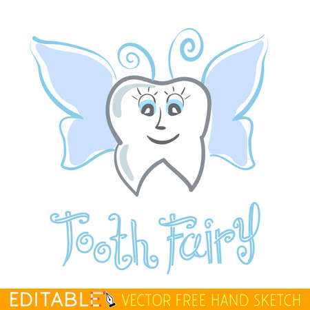 fairy godmother: Tooth Fairy. Editable vector graphic in linear style.