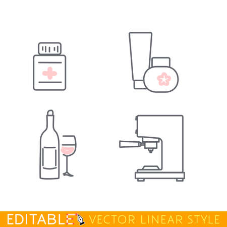consumer goods: Consumer goods icon set include coffee machine, perfumery, medicines, alcohol