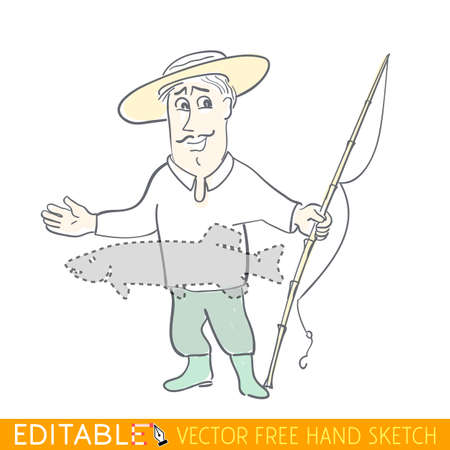 hand line fishing: Tall Stories, boastful fisherman. Editable vector graphic in linear style. Illustration