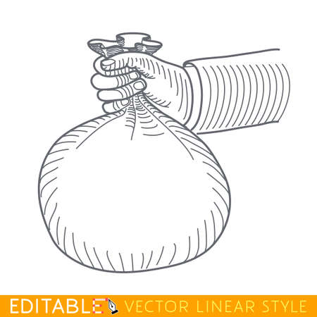 hand with a bag of money: Human hand hold money bag. Editable vector graphic in linear style. Illustration