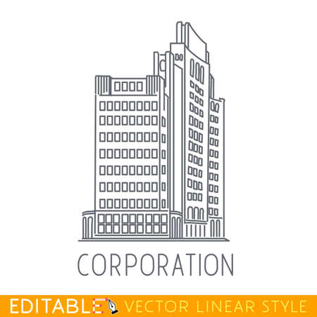 Corporation. Building of big company. Sketch line flat design of commerce architecture. Modern vector illustration concept.