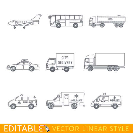 Transportation icon set include Jet Bus Oil truck Taxi City delivery Lorry and some Ambulance. Editable vector graphic in linear style.