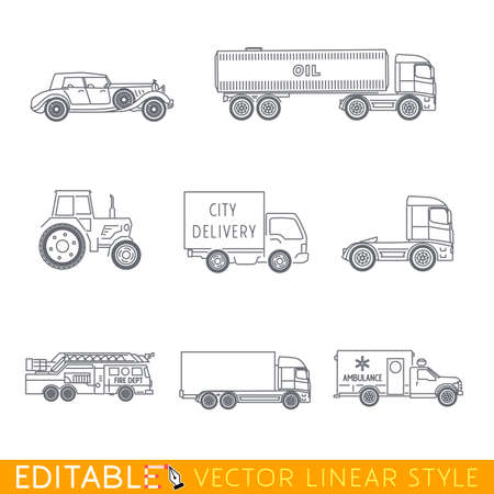 Transportation icon set include Old luxury car Road tanker Tractor City delivery Fire truck Lorry and Ambulance. Editable vector graphic in linear style. Banco de Imagens - 61099469
