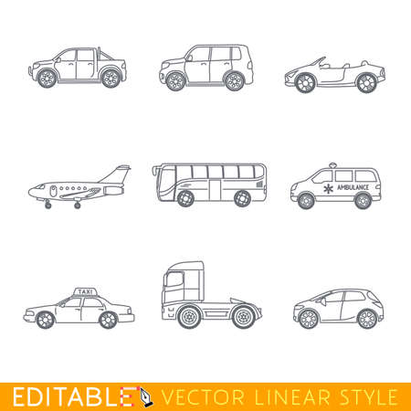 Transportation icon set include Ambulance Semi truck Taxi Business jet Pickup Crossover Bus Minivan and Cabriolet. Editable vector graphic in linear style. Ilustração