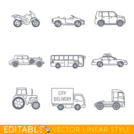 Transportation icon set include Semi truck Van Bus Minivan Old luxury car Taxi Tractor Cabriolet and Sport motorcycle. Editable vector graphic in linear style. Ilustração