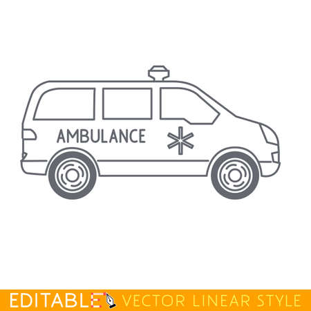 Ambulance car. Editable vector icon in linear style.