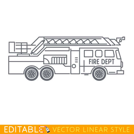 Fire truck. Editable vector icon in linear style. Çizim