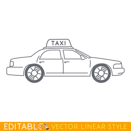 Taxi NY. Editable vector icon in linear style. Illustration