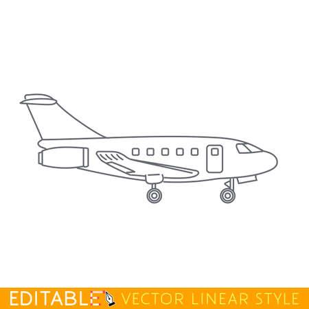 private jet: Private jet charter. Business aircraft. Editable vector icon in linear style. Illustration