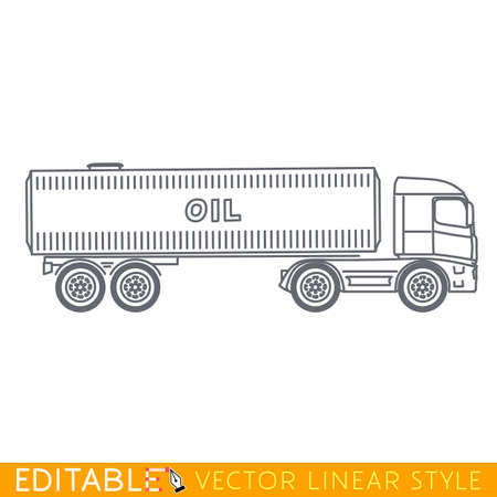 heavy industry: Truck tanker. Editable vector icon in linear style. Illustration