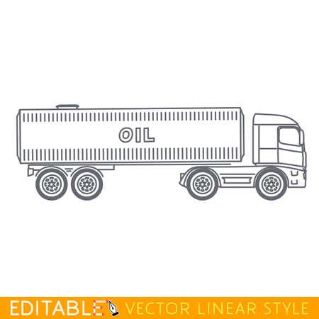 semitrailer: Truck tanker. Editable vector icon in linear style. Illustration