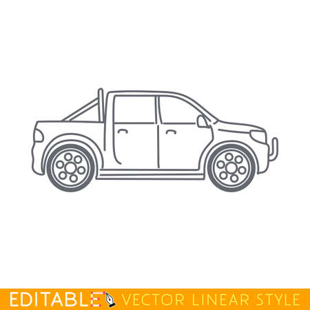 Pickup truck. Editable vector icon in linear style.