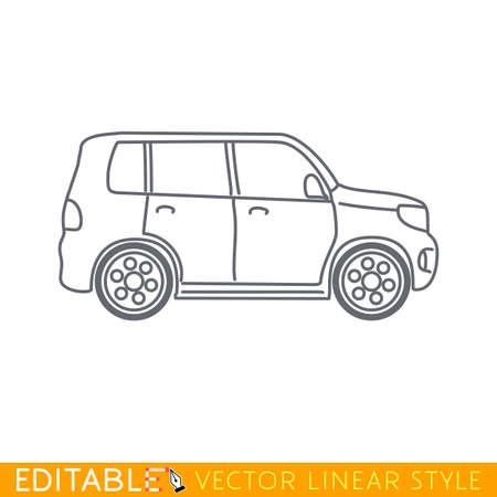 minivan: Minivan. Editable vector icon in linear style.
