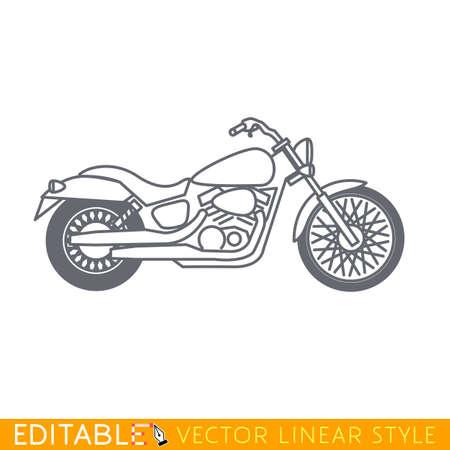 cruiser: Cruiser motorcycle. Editable vector icon in linear style.
