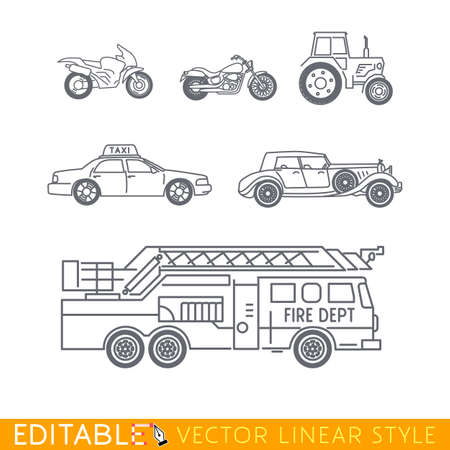 cruiser: Transportation icon set include Fire truck Old luxury car Taxi Tractor Cruiser motorbike and Sport motorcycle. Editable vector graphic in linear style.