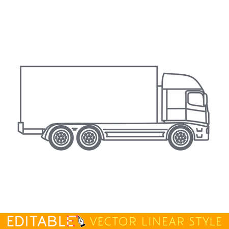 Lorry. Cargo truck. Editable vector icon in linear style. Editable vector icon in linear style.