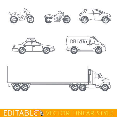 Transportation icon set include Long Semi Truck City delivery van Taxi Crossover Chopper and Street motorcycle. Editable vector graphic in linear style.