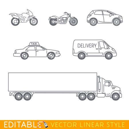 transporte conjunto de iconos incluye larga camión semi Ciudad furgoneta de reparto Taxi Crossover Chopper y la calle de la motocicleta. gráfico vectorial editable en estilo lineal.