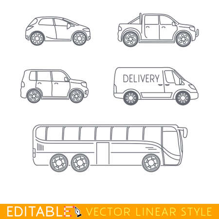 crossover: Transportation icon set include Long truck City delivery van Taxi Crossover Chopper and Street motorcycle. Editable vector graphic in linear style.