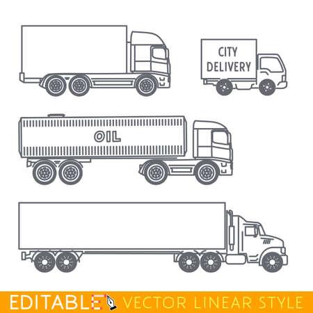 교통 아이콘 집합 포함 긴 세미 트럭도 유조선 도시 배달 밴 및 트럭입니다. 선형 스타일에서 편집 가능한 벡터 그래픽입니다.