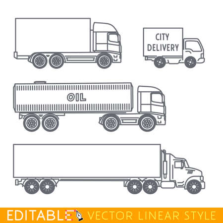 Transportation icon set include Long semi truck Road tanker City delivery van and Lorry. Editable vector graphic in linear style. Illustration