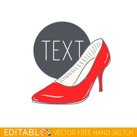 High heel woman shoe. Red stiletto. Editable vector icon in linear style.