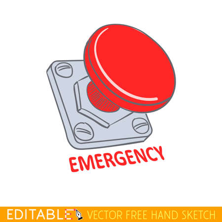 Emergency stop button. Editable vector illustration in linear style.