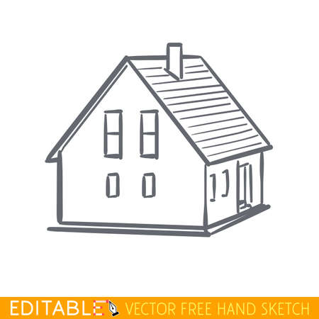 Home icon. Small building. Editable vector graphic in linear style.