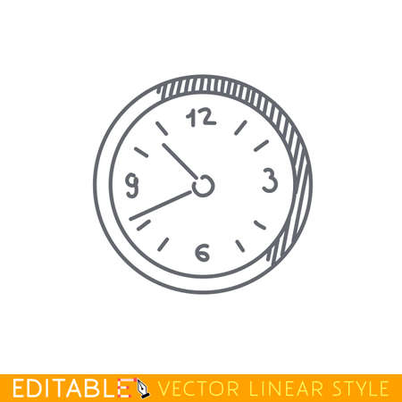 clockwise: Wall clock icon. Editable vector graphic in linear style.