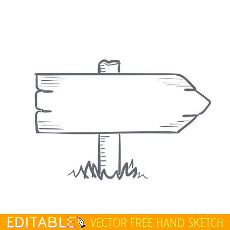 Wooden road pointer. Editable vector icon in linear style.