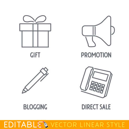 Marketing icon set include Gift box Promotion megaphone Write blog and Phone direct sale. Editable vector icon in linear style. Ilustração