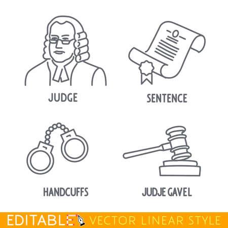 oracion: Conjunto de iconos de la ley incluyen Jude Jude Sentencia Handclufs gawel. icono vectorial editable en estilo lineal.