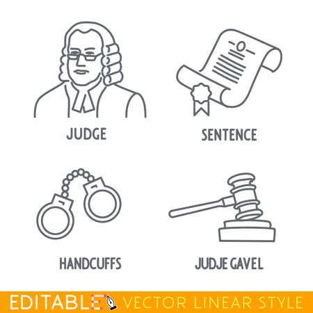 lawer: Law icon set include Jude Sentence Handclufs Jude gawel. Editable vector icon in linear style.