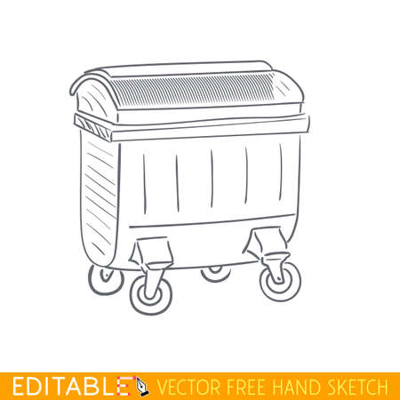 trash container: Trash container. Editable vector icon in linear style.