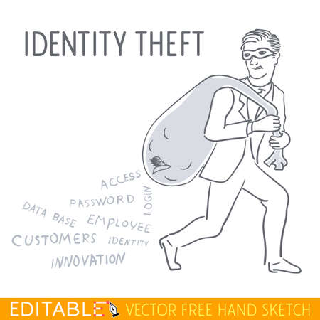Indentity theft. Editable vector illustration in linear style.
