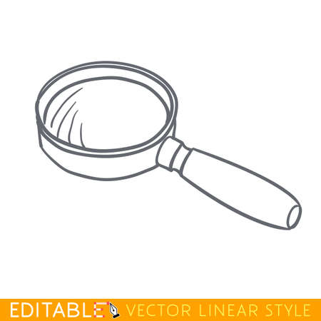 Magnifying glass. Closed book. Editable vector graphic in linear style.
