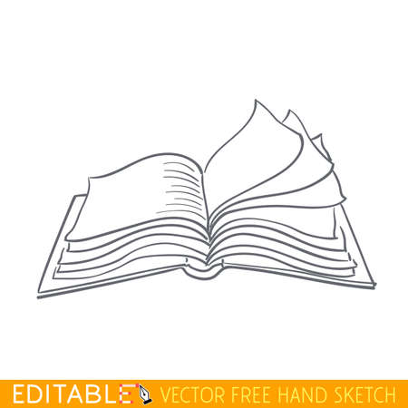 closed book: Closed book. Editable vector graphic in linear style.