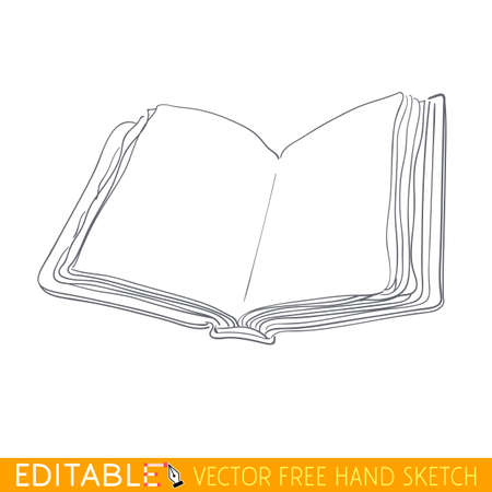 Closed book. Editable vector graphic in linear style.