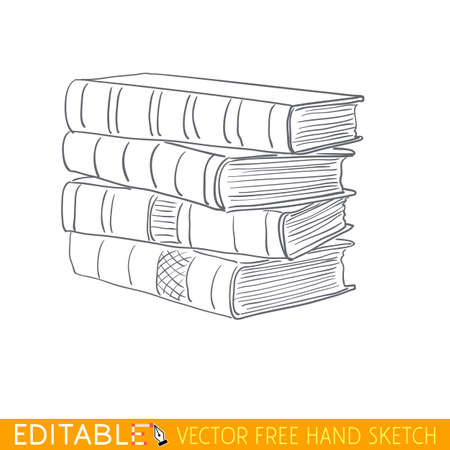 Stack of books. Editable vector graphic in linear style.