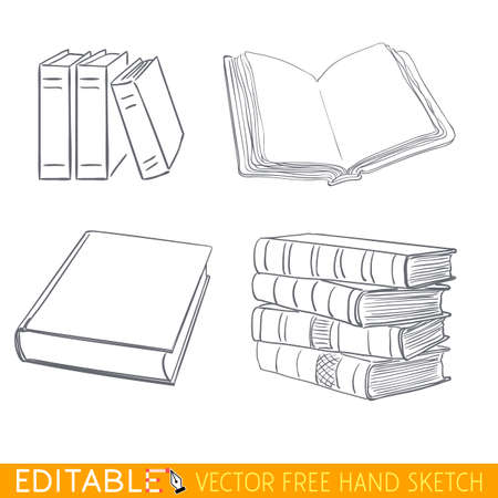 Books icon set. Editable vector graphic in linear style.
