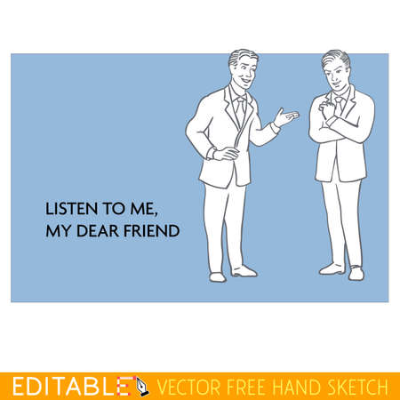friends conversation Editable vector icon in linear style.