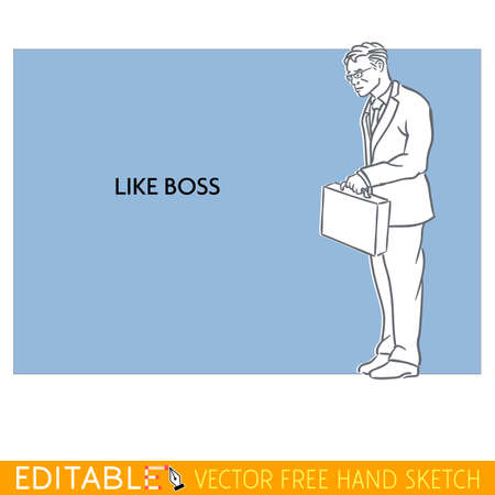 Like Boss. Tall man. Editable vector icon in linear style. Banco de Imagens - 60298239