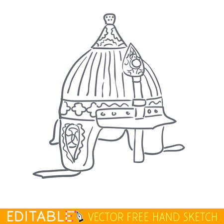 Ancient byzantine helmet. Editable vector icon in linear style.