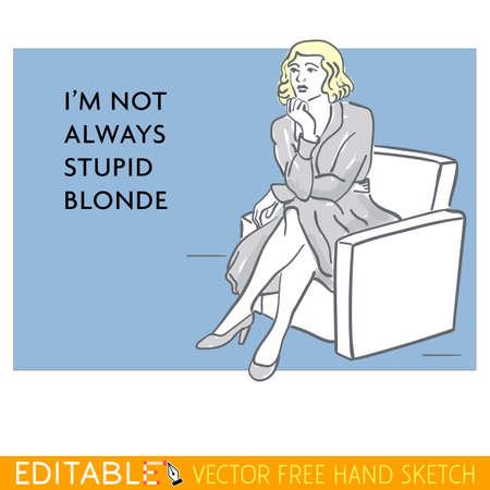 stupid: Young lady. Stupid woman. Editable vector memes card Illustration